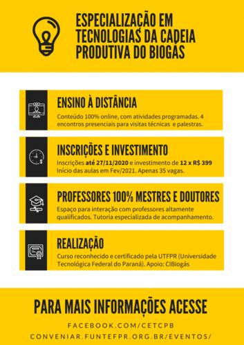 Curso de Especialização em Tecnologias da Cadeia Produtiva do Biogás (EaD) com inscrições abertas